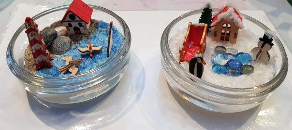 Minilandschap gemaakt met hout en verf in glas